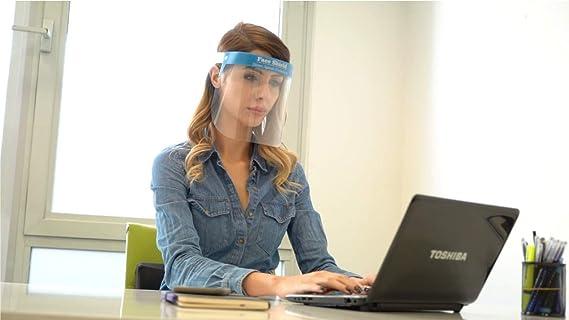 fabricado en Europa Cara transparente con banda de goma ajustable para hombres Fredo Visera de pl/ástico Face Shield mujeres