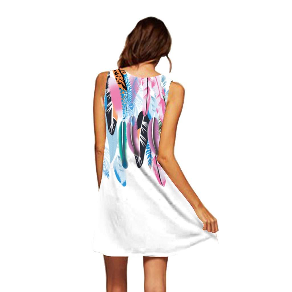Women Short Mini Dress Summer Foral Sleveless Boho Dress Printed Beach Vintage Casual Fashion Dress Kinlene Dress
