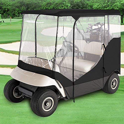 Premium Products Corp. Waterproof Superior Black OR Beige and Transparent Golf CART Cover Covers Enclosure Club CAR, EZGO, Yamaha, FITS Most Two OR Four-Person Golf CARTS (Black, 4 Person Cart)