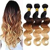 Best Hair Weave Blonde 3 Bundles - Ombre Brazilian Hair Body Wave Bundles 100% Human Review