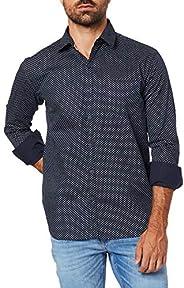 Camisa Casual Estampada Manga Longa, JAB, Masculino