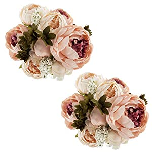 Silk Flower Arrangements EZFLOWERY 2 Pack Artificial Peony Silk Flowers Arrangement Bouquet for Wedding Centerpiece Room Party Home Decoration, Elegant Vintage, Perfect for Spring, Summer and Occasions (2, Peach)
