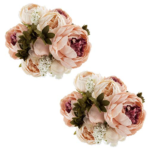 EZFLOWERY 2 Pack Artificial Peony Silk Flowers Arrangement Bouquet for Wedding Centerpiece Room Party Home Decoration, Elegant Vintage, Perfect for Spring, Summer and Occasions (2, Peach)