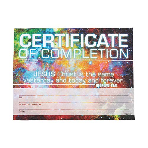 Fun Express - God's Galaxy Vbs Cert of Completion - Stationery - Awards - Award Ribbons & Paper Certificates - 25 Pieces