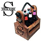 Cheap Wood Beer Caddy with Bottle Opener & Magnetic Cap Catch, 6-Pack with Removable Dividers Personalizable Gifts for Groomsmen, Craft Beer Fans, Brewers and more