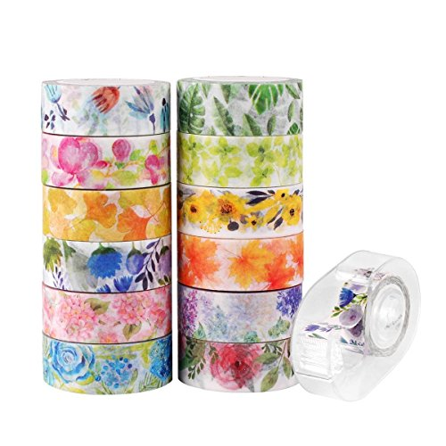 (Knaid Floral Washi Masking Tape Set + Tape Dispenser, Spring Flower Decorative Paper Tapes for Arts and DIY Crafts, Scrapbooking, Bullet Journal, Planner, Gift Wrapping, Holiday Decoration (Set of 12))