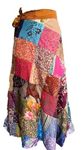 - Sari Silk Vintage Patchwork Wraparound Skirt