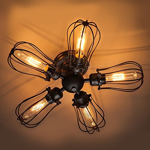 Industrial-Vintage-Barn-Metal-Pendant-LITFAD-Semi-Flush-Mount-Fan-Ceiling-Light-Chandelier-Hanging-Fixture-with-5-LightsWrought-Iron-Painted-Finish
