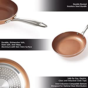 Double Layer Non-stick Frying Pan with Copper Colored Finish-Saute