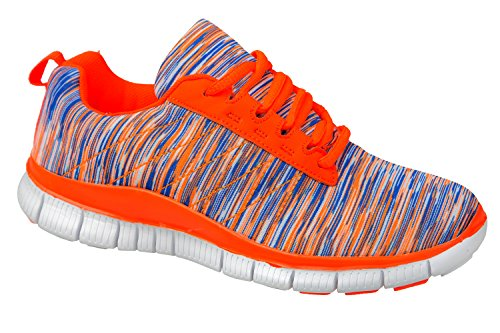 gibra - Zapatillas de tela para mujer neonorange/blau