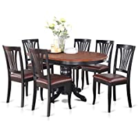 East West Furniture AVON7-BLK-LC 7-Piece Dining Table Set