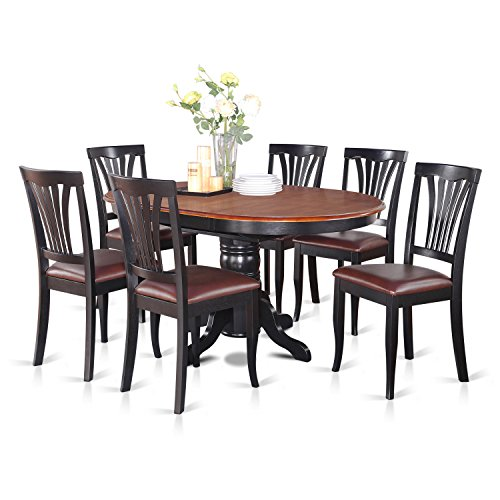 7 Pc Dining room set-Oval Table with Leaf and 6 Dining Chairs