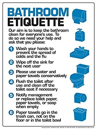 Amazon Com Bathroom Etiquette X Poster Office Products
