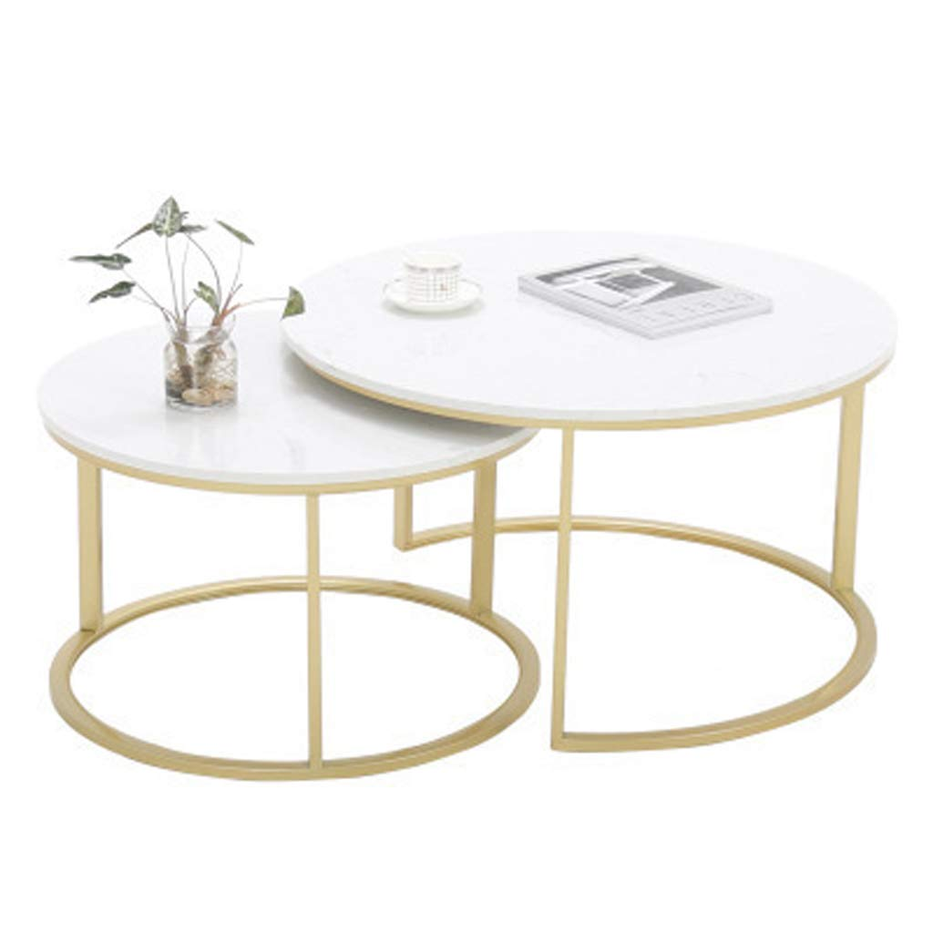 Nesting Table Coffee Tables for Living Room End Side Tables and Accent Cocktail Table Sturdy and Environmental Marble Material Durable Round Nesting Table Set (Set of 2, Gold) by Nan-Coffee Table