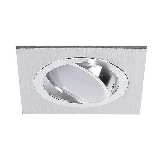 Focos empotrables para techo plano, led de 5 W, foco rectangular, de aluminio