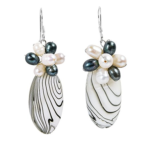 Zebra Mother of Pearl Painted & Cultured Freshwater Pearl .925 Sterling Silver Dangle Earrings