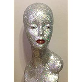 Silver Iridescent Female Plastic Mannequin Head with shoulders