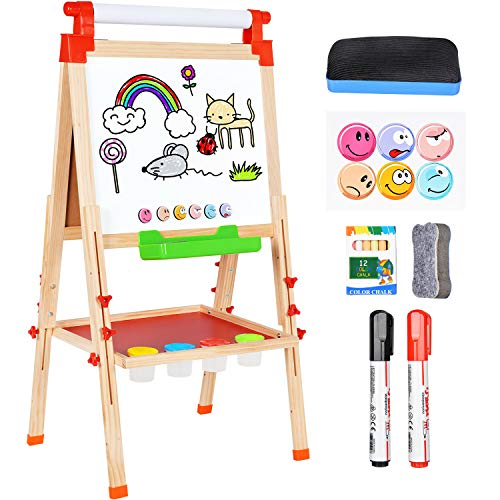 (Amagoing 3 in 1 Wooden Easel for Kids, Double Sided Magnetic Black/White Board Toddler Art Easel Adjustable with Paper Roll )
