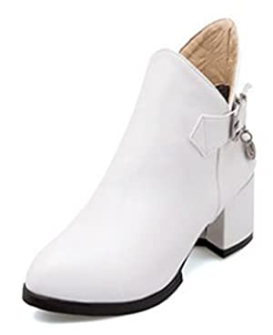Sfnld Women's Fall Spring Pump Shoes Ankle Martin Boots White 6 B(M) US