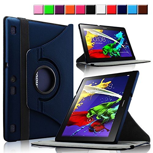 Infiland Lenovo Tab 2 A10-70 / Tab 2 A10-70L / Tab 2 A10-70F Hülle Case - PU Ledertasche lederhülle 360° Drehbarer Stand Smart Cover Case Schutzhülle Tasche Etui für Lenovo Tab 2 A10-70 / Tab 2 A10-70L / Tab 2 A10-70F 25,7 cm (10,1 Zoll FHD IPS) Android Tablet(mit Auto Schlaf / Wach Funktion)(Dunkleblau)