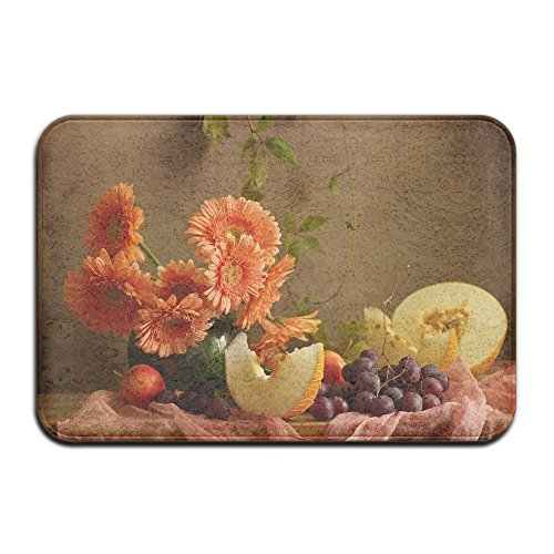 LuckYYou Easy To Rinse Stylish Square Coral Famous Classical Art Of Flowers And Flowers Doormat RV And Outings For Woman (Halloween In Baltimore Be Like)