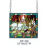 HF-104 Rural Vintage Tiffany Style Stained Church Art Glass Decorative Pastoral Lotus&Pond Rectangle Window Hanging Glass Panel Suncatcher, 12''H13''W