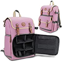 GOgroove Digital SLR Camera Backpack (Pink - Mid-Volume) w/Tablet Compartment, Customizable Dividers for Accessory Storage, Tripod Holder and Weatherproof Rain Cover for Canon , Nikon , Olympus & more