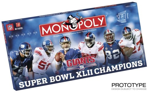 Usaopoly Super Bowl 42 Champions Giants Monopoly ()