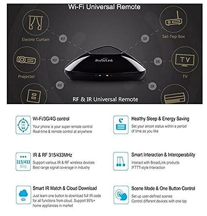 BroadLink RM Pro+ WiFi Smart Home Automatización Todo en uno Aprendizaje Controlador Remoto Universal Compatible para Dispositivos iOS/Android (EU ...