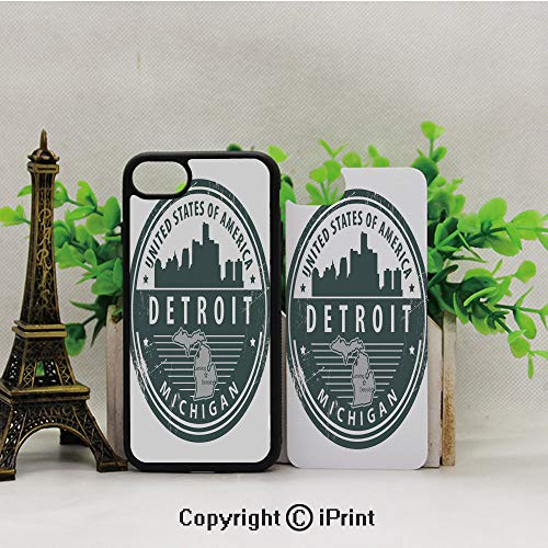Phone Case Compatible with iPhone7 iPhone8,Damaged-Old-Stamp-of-Michigan-USA-with-City-Map-Location-Tourism-Icon-Decorative,2D Print Black Edge