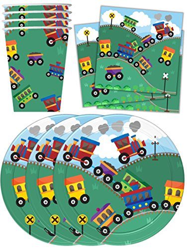 Train-Birthday-Party-Supplies-Set-Plates-Napkins-Cups-Tableware-Kit-for-16