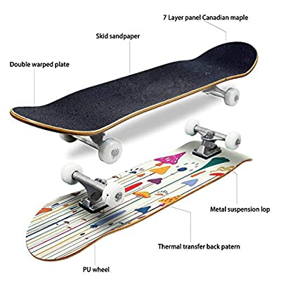 Classic Concave Skateboard Psychedelic Mushrooms Illustration 1960s Style Poster Background Cover Longboard Maple Deck Extreme Sports and Outdoors Double Kick Trick for Beginners and Professionals : Sports & Outdoors