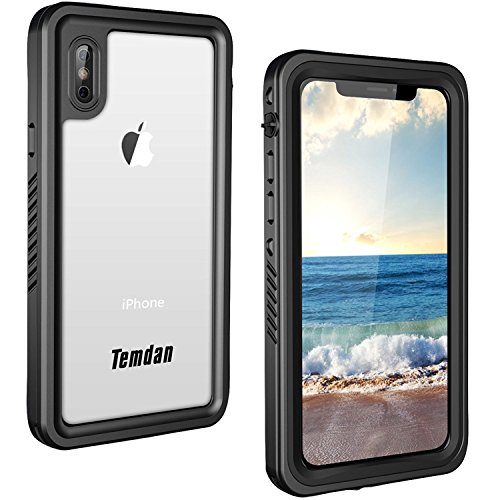 2018 iPhone X Waterproof Case, Temdan Waterproof Full-body Rugged Case with Built-in Screen Protector for Apple iPhone X 2017 / iPhone10 Release (Black)
