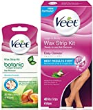 Veet Total Body Wax Strip Kit with Legs & Body Strips (40 cnt) & Botanic Inspirations Sensitive Strips (20 cnt) for Bikini, Underarm & Face