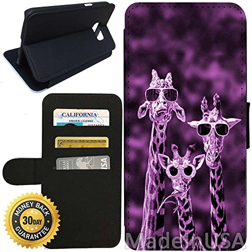 Flip Wallet Case for Galaxy S7 (Pink Sunglasses Giraffe) with Adjustable Stand and 3 Card Holders | Shock Protection | Lightweight | Includes Stylus Pen by - Sunglasses Coach Ebay