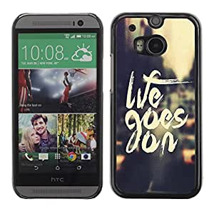 Slim Design Hard PC/Aluminum Shell Case Cover for HTC One M8 Life Goes On / JUSTGO PHONE PROTECTOR