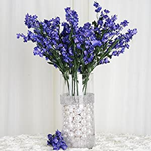 Tableclothsfactory 12 Bushes Baby Breath Artificial Filler Flowers - Navy Blue 56
