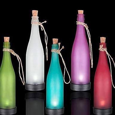 Sentido luz accionada solar corcho botella de vino LED lámpara colgante para la decoración del jardín de fiesta al aire libre patio Patio vía: Amazon.es: ...