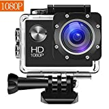 Digital Action Camera Waterproof Sports Camera Cam Camcorders Wifi HD 1080P 30fps 12MP 170 Degree Wide Angle and Helmet Accessories Kit- Waterproof 100ft (black)