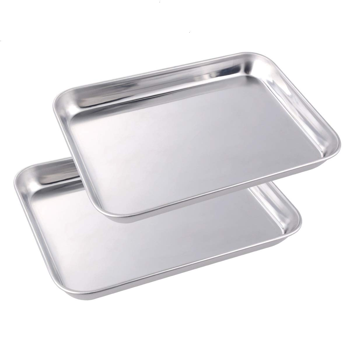 Baking Sheet&Cookie sheet Set 2,Cooking Stainless Steel Pan ,10x7.8x1 Inch Non Toxic & Healthy, Mirror Finish & Rust Free, Easy Clean & Dishwasher Safe