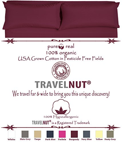 Best Clearance Burgundy California King Size Real 100% Pure Organic Cotton 4 Piece Bed Sheet Set 600 Thread Count Deep Pocket Hypoallergenic Back to School Gift for Sale (California King, Burgundy) by TravelNut
