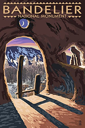 Bandelier National Monument, New Mexico - Twilight View (12x18 Art Print, Wall Decor Travel Poster) ()