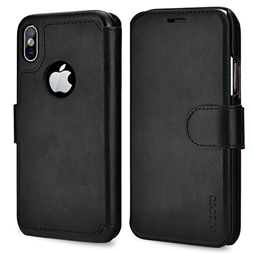 iPhone X Case, iPhone X Wallet Case, Filoto Premium PU Leather Wallet Case with Card Holder/Magnetic Closure Flip Cover for Apple iPhone X/iPhone 10 (Black)