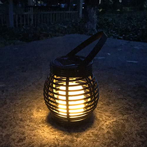 Iuhan Lantern Light Outdoor, Industrial Vintage Metal Cage Hanging Ceiling Pendant Light Holder Lamp Shade Rattan Flame Lamp (Black) by Iuhan  (Image #3)