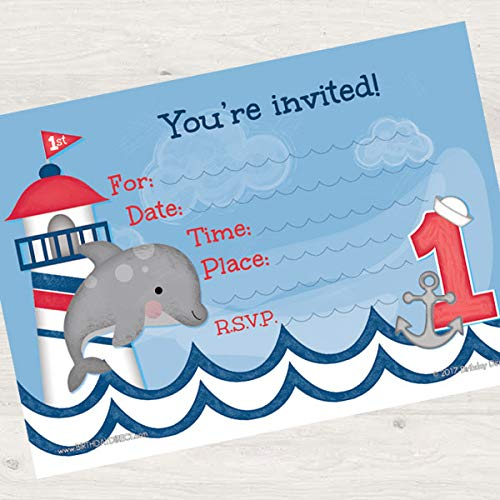 Birthday Direct Nautical 1st Birthday Fill in Invitations 16 Count with Envelopes - 16 Pack Blue Dolphin, Lighthouse Party Invites for 1st Birthday, Boys Birthday