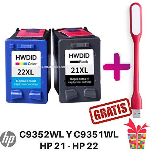 Cartucho Compatible HP 21 y HP 22 Tintas Negra y Tricolor C9351A y C9352A