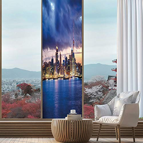 C COABALLA Privacy Frosted Decorative Vinyl Decal Window Film,City,for Bathroom, Kitchen, Home, Easy to Install,Auckland The Biggest City in New Zealand Waterfront,24''x78''