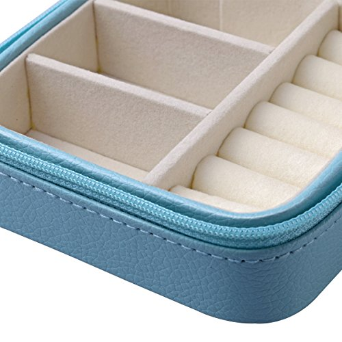 Vlando Small Faux Leather Travel Jewelry Box Organizer Display Storage Case for Rings Earrings Necklace (Blue)
