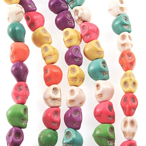 - Mini Skull Beads, Multi Colored Halloween Magnesite Stone 6x8mm (48 Pieces)
