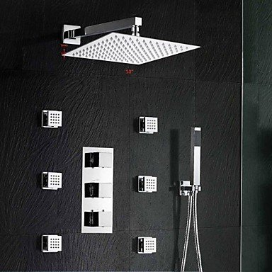 kitchen and bathroom Brass Thermostatic Shower Valve Stainless Steel 10